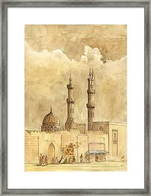 Minaret Of Al Azhar Mosque Framed Print by Juan  Bosco