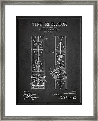 Mine Elevator Patent From 1892 - Charcoal Framed Print by Aged Pixel