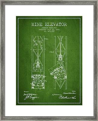 Mine Elevator Patent From 1892 - Green Framed Print by Aged Pixel