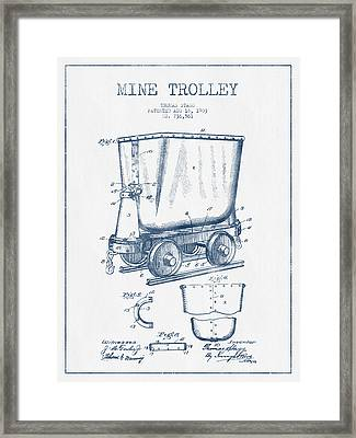 Mine Trolley Patent Drawing From 1903- Blue Ink Framed Print by Aged Pixel