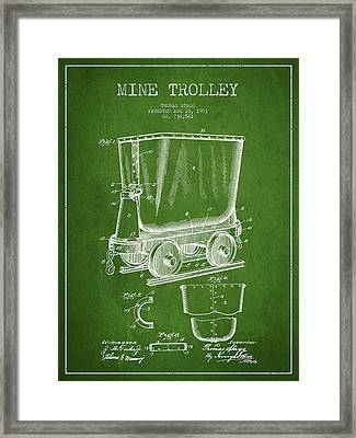 Mine Trolley Patent Drawing From 1903 - Green Framed Print by Aged Pixel