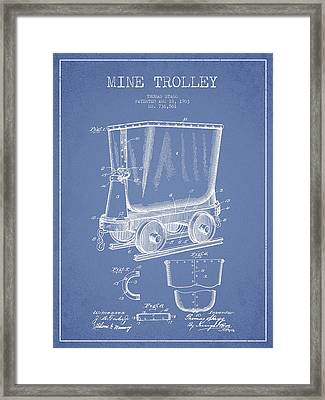 Mine Trolley Patent Drawing From 1903 - Light Blue Framed Print by Aged Pixel