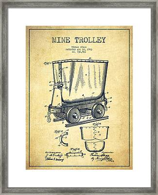 Mine Trolley Patent Drawing From 1903 - Vintage Framed Print by Aged Pixel