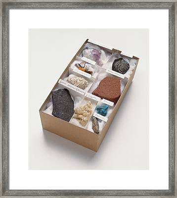 Mineral And Rock Samples Framed Print by Dorling Kindersley/uig
