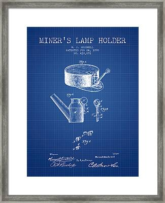 Miners Lamp Holder Patent From 1890 - Blueprint Framed Print by Aged Pixel