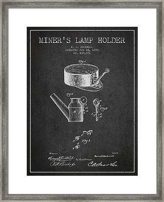 Miners Lamp Holder Patent From 1890 - Charcoal Framed Print by Aged Pixel
