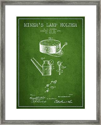 Miners Lamp Holder Patent From 1890 - Green Framed Print by Aged Pixel