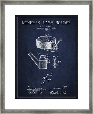 Miners Lamp Holder Patent From 1890 - Navy Blue Framed Print by Aged Pixel