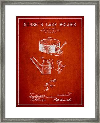 Miners Lamp Holder Patent From 1890 - Red Framed Print by Aged Pixel