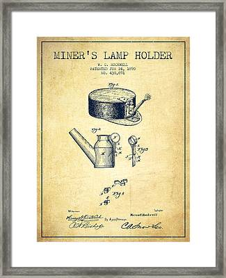 Miners Lamp Holder Patent From 1890 - Vintage Framed Print by Aged Pixel