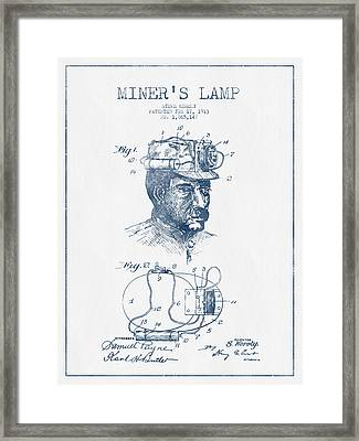 Miners Lamp Patent Drawing From 1913- Blue Ink Framed Print by Aged Pixel