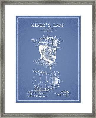 Miners Lamp Patent Drawing From 1913 - Light Blue Framed Print by Aged Pixel