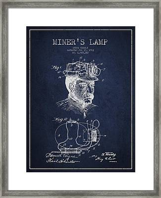 Miners Lamp Patent Drawing From 1913 - Navy Blue Framed Print by Aged Pixel