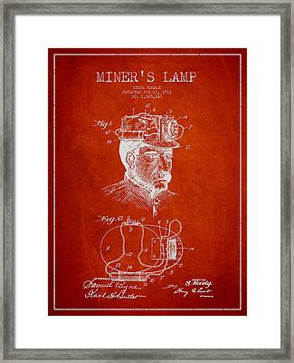 Miners Lamp Patent Drawing From 1913 - Red Framed Print by Aged Pixel