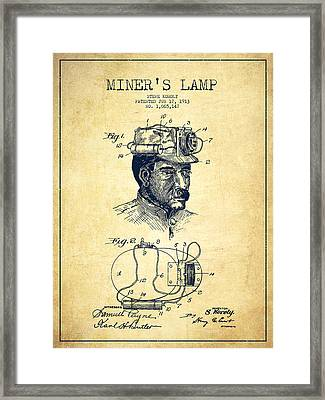 Miners Lamp Patent Drawing From 1913 - Vintage Framed Print by Aged Pixel