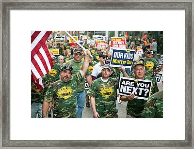 Miners Rally Against Coal Burning Limits Framed Print by Jim West