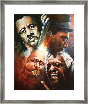 Mingus Monk Blakey And Gillespie Playing Jazz Framed Print by Ka-Son Reeves