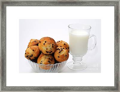 Mini Chocolate Chip Muffins And Milk - Bakery - Snack - Dairy - 1 Framed Print by Andee Design