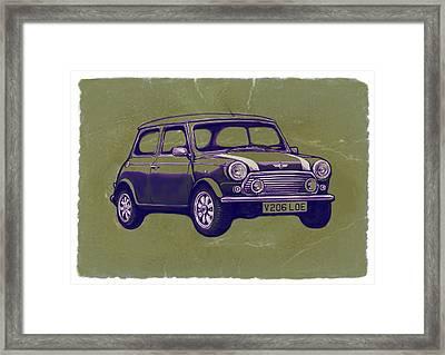 Mini Cooper - Car Art Sketch Poster Framed Print by Kim Wang