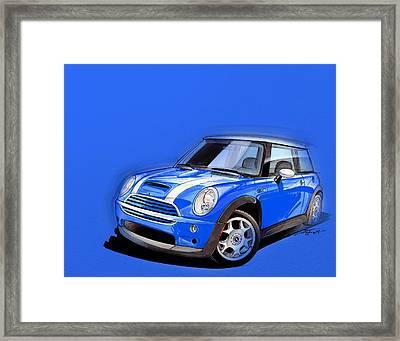 Mini Cooper S Blue Framed Print by Etienne Carignan