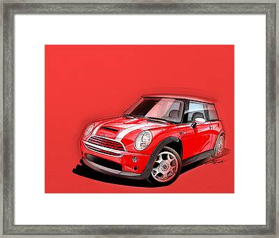 Mini Cooper S Red Framed Print by Etienne Carignan