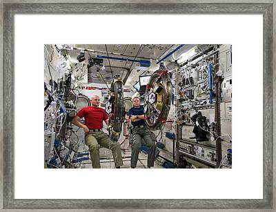 Mini-satellites Testing Onboard The Iss Framed Print by Nasa