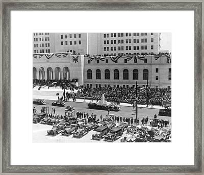 Miniature La City Hall Parade Framed Print by Underwood & Underwood