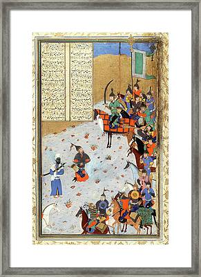 Miniature Of The Bukhara School Framed Print by Bodleian Museum/oxford University Images