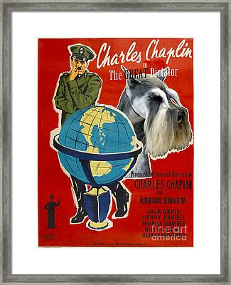 Miniature Schnauzer Art Canvas Print - The Great Dictator Movie Poster Framed Print by Sandra Sij