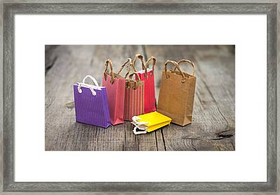 Miniature Shopping Bags Framed Print by Aged Pixel