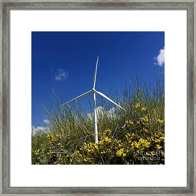 Miniature Wind Turbine In Nature Framed Print by Bernard Jaubert
