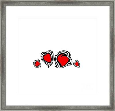 Hearts Minimalism Black White Red Abstract Art No.105. Framed Print by Drinka Mercep