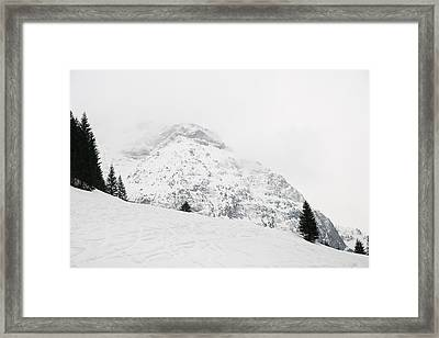 Minimalist Snow Landscape - Mountain And Trees In Winter Framed Print by Matthias Hauser