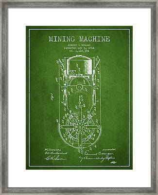 Mining Machine Patent From 1914- Green Framed Print by Aged Pixel