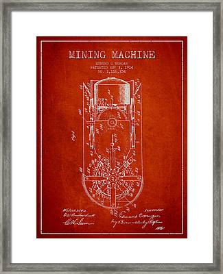 Mining Machine Patent From 1914- Red Framed Print by Aged Pixel