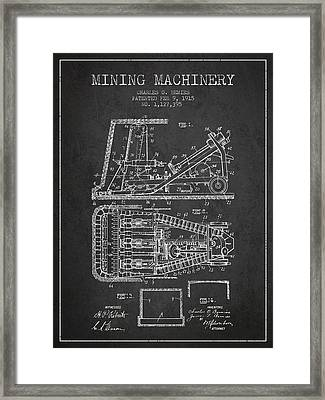 Mining Machinery Patent From 1915- Charcoal Framed Print by Aged Pixel