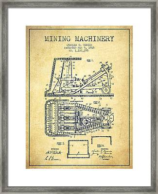 Mining Machinery Patent From 1915- Vintage Framed Print by Aged Pixel