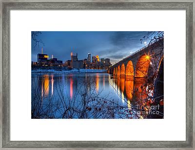 Minneapolis Skyline Images Stone Arch Bridge Spring Evening Framed Print by Wayne Moran