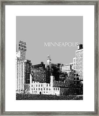 Minneapolis Skyline Mill City Museum - Silver Framed Print by DB Artist