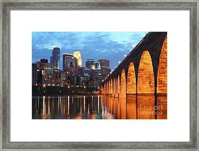 Minneapolis Skyline Photography Stone Arch Bridge Framed Print by Wayne Moran