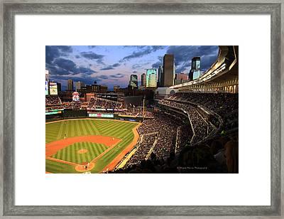 Minnesota Twins Minneapolis Skyline Target Field Framed Print by Wayne Moran