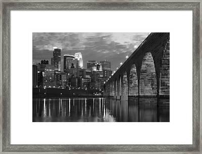Minneapolis Stone Arch Bridge Bw Framed Print by Wayne Moran