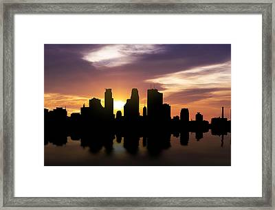 Minneapolis Sunset Skyline  Framed Print by Aged Pixel