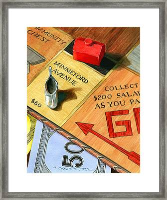 Minneford Monopoly Framed Print by Marguerite Chadwick-Juner