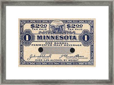 Minnesota Beer Tax Stamp Framed Print by Jon Neidert