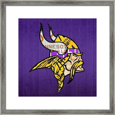 Minnesota Vikings Football Team Retro Logo Minnesota License Plate Art Framed Print by Design Turnpike