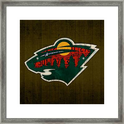 Minnesota Wild Retro Hockey Team Logo Recycled Land Of 10000 Lakes License Plate Art Framed Print by Design Turnpike