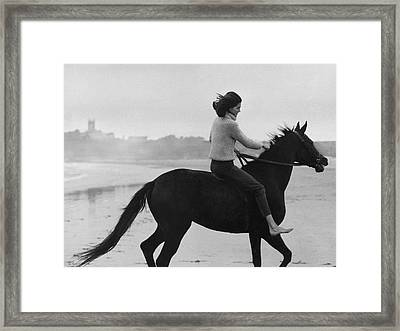 Minnie Cushing On Horseback Framed Print by Toni Frissell