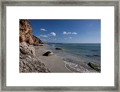 Binigaus Beach In South Coast Of Minorca With A Turquoise Crystalline Water - Paradise In Blue Framed Print by Pedro Cardona