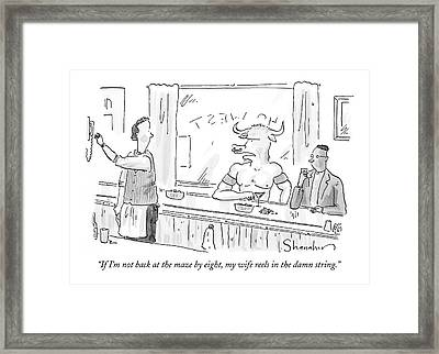 Minotaur At Bar Talking To Bartender Reaching Framed Print by Danny Shanahan
